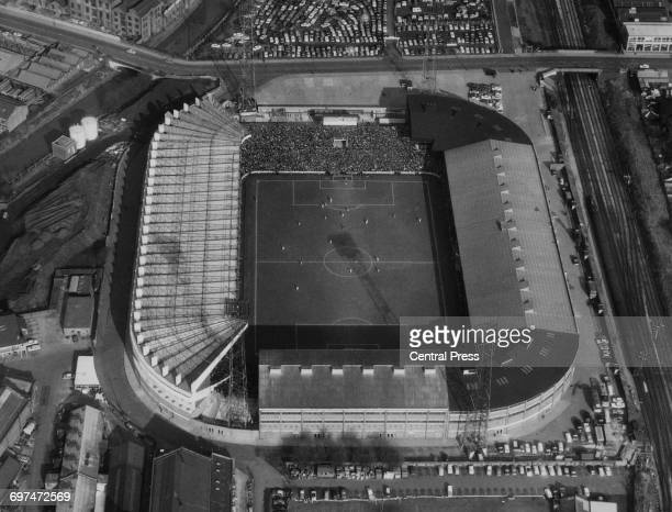 An aerial view of the Old Trafford football ground home to the Manchester United football club during the FA Cup sixth round replay match against...