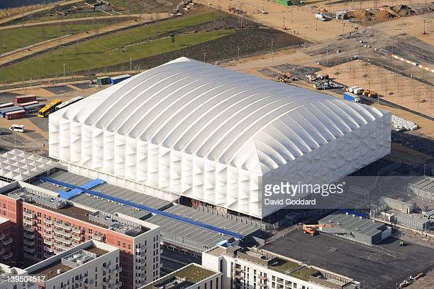 An Aerial view of the Olympic Basketball Arena in the Olympic Park Stratford on February 21 2012 in London England