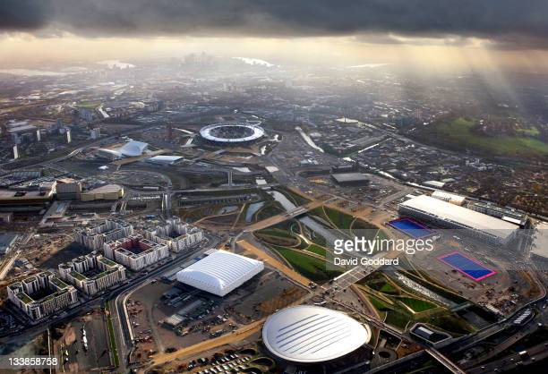 An Aerial view of the Olympic Park Stratford Canary Wharf and Central London on November 19 2011 in East London England The 2012 Summer Olympic Games...
