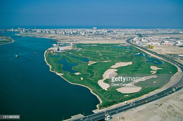 An aerial view of the opening of the Dubai Creek Golf and Marina Yacht Club golf course on 1st January 1993 in Dubai United Arab Emirates