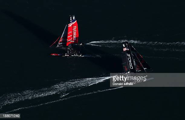 An aerial view of the Oracle Racing Boat in the lead past the Emirates Team New Zealand during the America's Cup World Series San Diego Match Racing...
