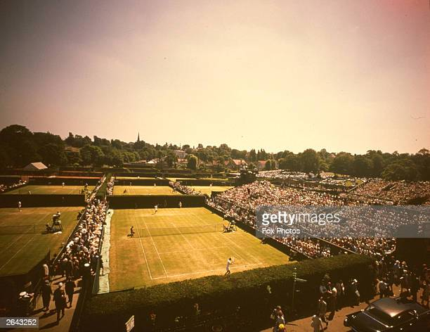 An aerial view of the outer courts at Wimbledon