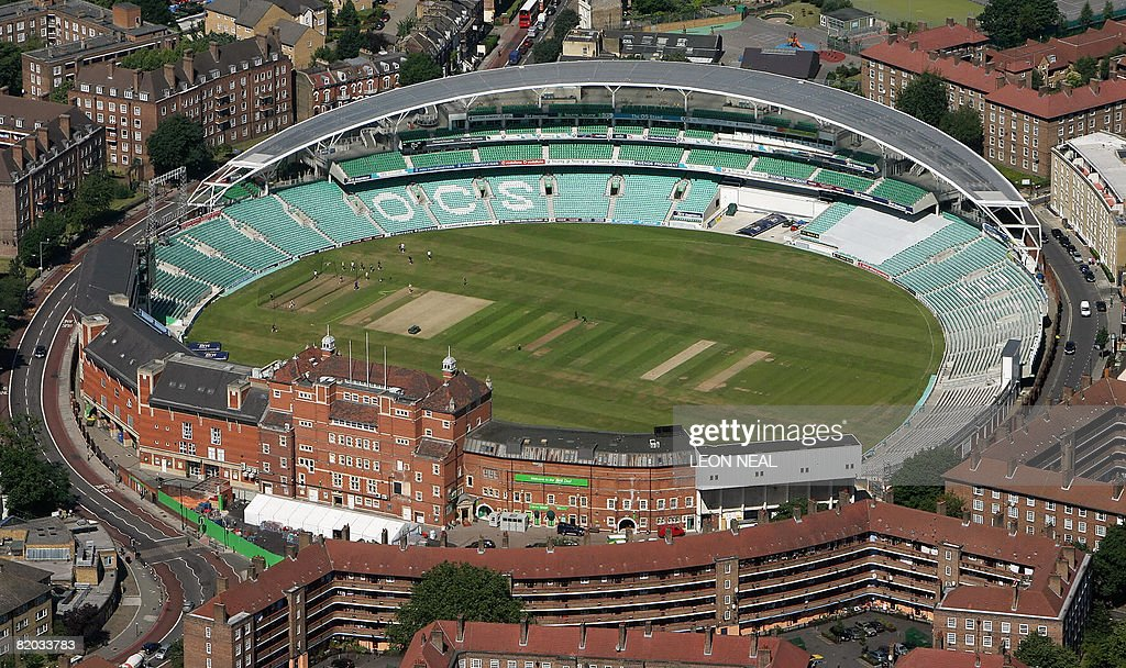 An aerial view of The Oval cricket ground is pictured from the 'Stella Artois: Star Over London' airship in London, on July 22, 2008. It will operate commercial flights until August 21, 2008 and will carry up to 12 passengers over central London, taking in London's famous and historical landmarks. AFP PHOTO/Leon Neal