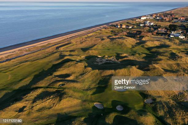 An aerial view of the par 3, sixth green at the of the picture with no pin flag at Royal St George's Golf Club where the 2020 Open Championship is...