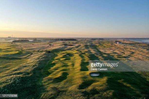 An aerial view of the par 4, 12th hole with no pin flag at Royal St George's Golf Club where the 2020 Open Championship is due to be held in July...
