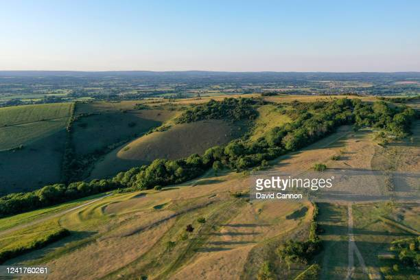 An aerial view of the par 4 14th hole with the par 4 15th hole and the par 4 second green in the foreground at Lewes Golf Club on June 01 2020 in...