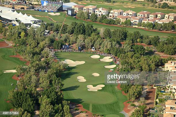 An aerial view of the par 4 15th hole during the third round of the 2015 DP World Tour Championship on the Earth Course at Jumeirah Golf Estates on...