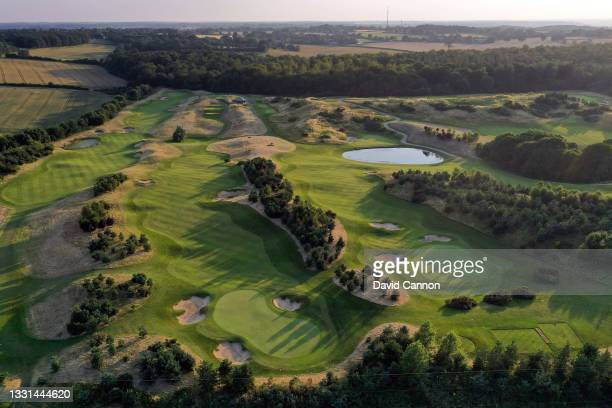 An aerial view of the par 4, 9th hole , the par 4, 8th hole and the par 4, 10th hole at The Centurion Club on July 22, 2021 in St Albans, England.