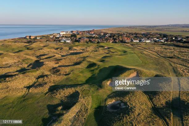 An aerial view of the par 4 fourth hole with no pin flags at Royal St George's Golf Club where the 2020 Open Championship is due to be held in July...
