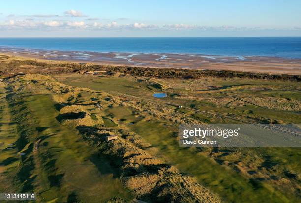 An aerial view of the par 4, fourth hole with the par 4, sixth hole and the par 3, seventh hole on the Old Course at Rye Golf Club on April 15, 2021...