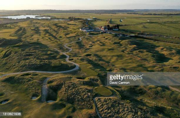 An aerial view of the par 4, ninth the par 4, 15th and 18th hole with the clubhouse behind on The Old Course at Rye Golf Club on April 15, 2021 in...