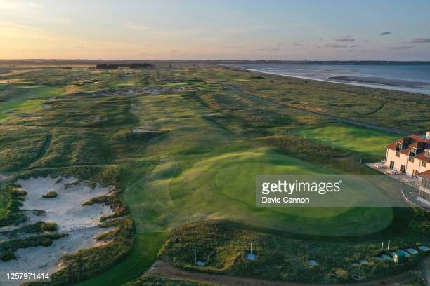 An aerial view of the par 4, sixth hole on the Shore nine holes at Prince's Golf Club on July 20, 2020 in Sandwich, England.