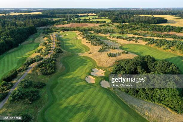An aerial view of the par 5, 13th hole at The Centurion Club on July 22, 2021 in St Albans, England.