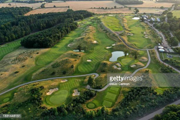 An aerial view of the par 5, 15th hole , the par 4, 16th hole , the par 3, 17th hole and the par 5, 18th hole at The Centurion Club on July 22, 2021...