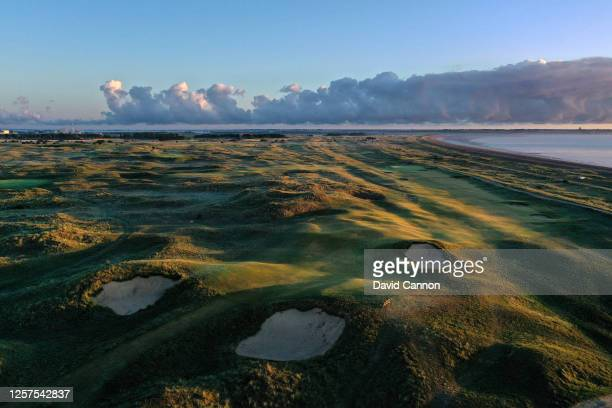 An aerial view of the par 5 seventh hole at the host venue for the 2021 Open Championship at The Royal St George's Golf Club on July 20 2020 in...