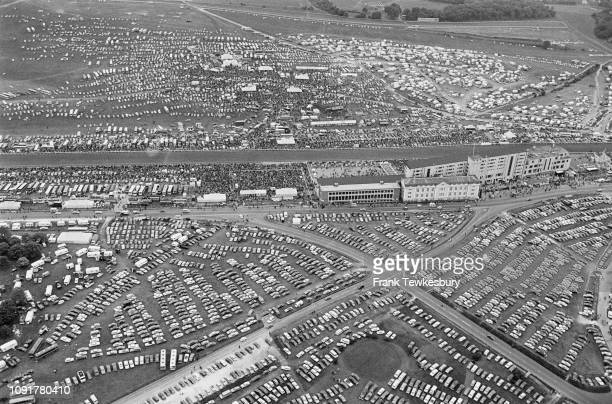 An aerial view of the parking lot at Epsom Derby, UK, 4th June 1975.
