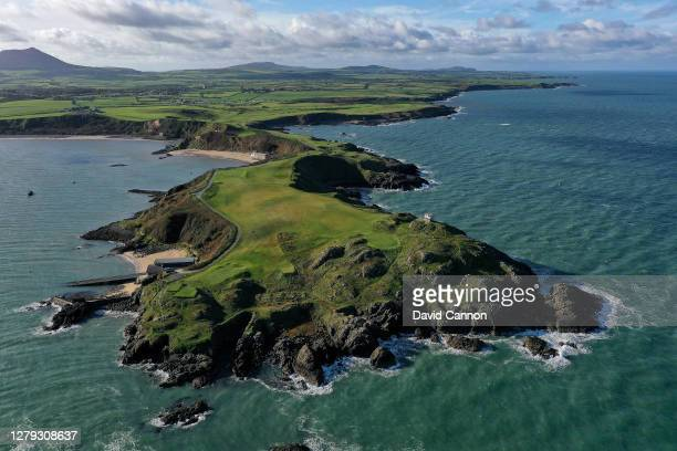An aerial view of the peninsula with the 4th, 5th and 6th holes on The Old nine holes at Nefyn Golf Club on October 08, 2020 in Nefyn, Wales.