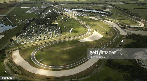 An aerial view of the Phillip Island circuit during day three of the 2005 Australian MotoGP October 15 2005 at Phillip Island Australia