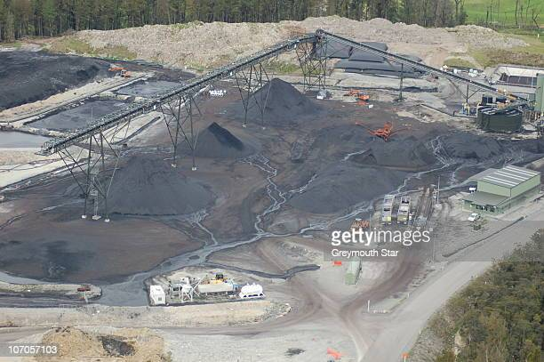 An aerial view of the Pike River Coal Mine is seen following a methane gas explosion on November 19 2010 in Greymouth New Zealand 29 miners are...