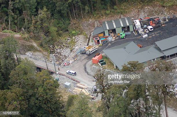 An aerial view of the Pike River Coal Mine is seen following a methane gas explosion on November 19, 2010 in Greymouth, New Zealand. 29 miners are...