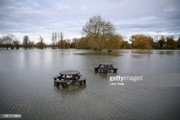 An aerial view of the playground area on the waterlogged flood plains following an overflow from the River Great Ouse, on January 19, 2021 in...