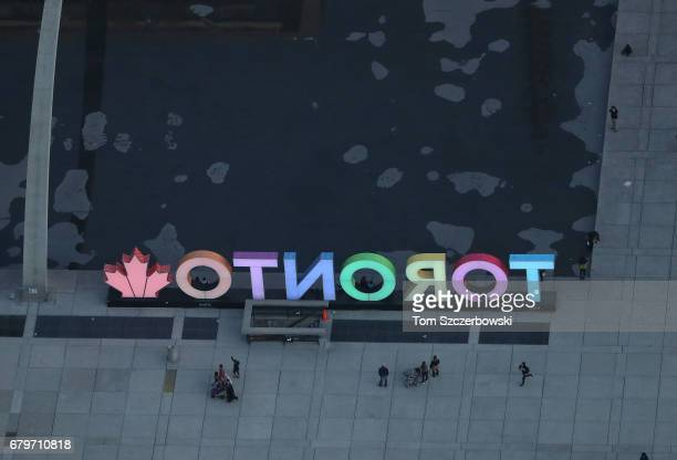 An aerial view of the pool and TORONTO 3D sign near the new city hall at Nathan Phillips Square plaza on May 3 2017 in Toronto Ontario Canada