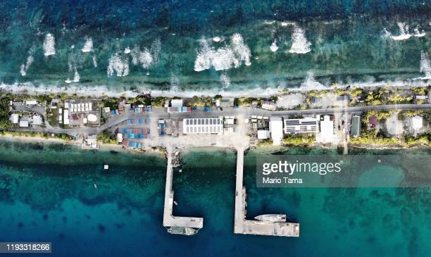 An aerial view of the port between the Pacific Ocean ( and lagoon on November 27, 2019 in Funafuti, Tuvalu. Thelow-lyingSouth Pacific island...