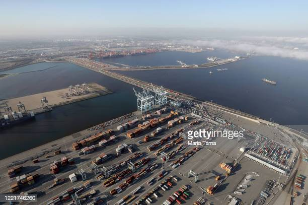 An aerial view of the Port of Los Angeles and Port of Long Beach amid the coronavirus pandemic on April 28 2020 in San Pedro California Around three...