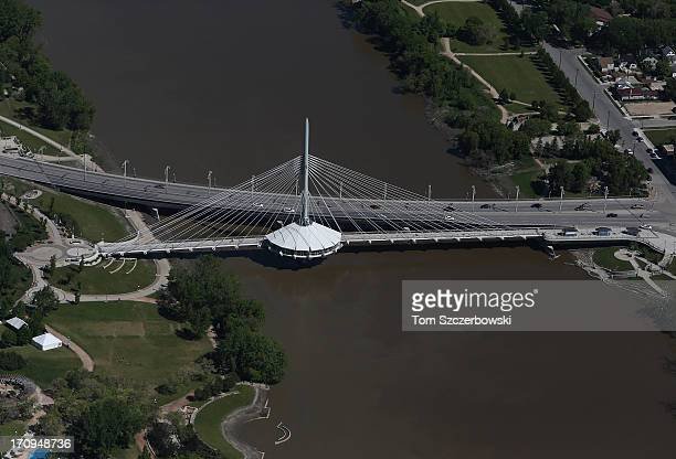 An aerial view of the Provencher Bridge on June 15 2013 in Winnipeg Manitoba