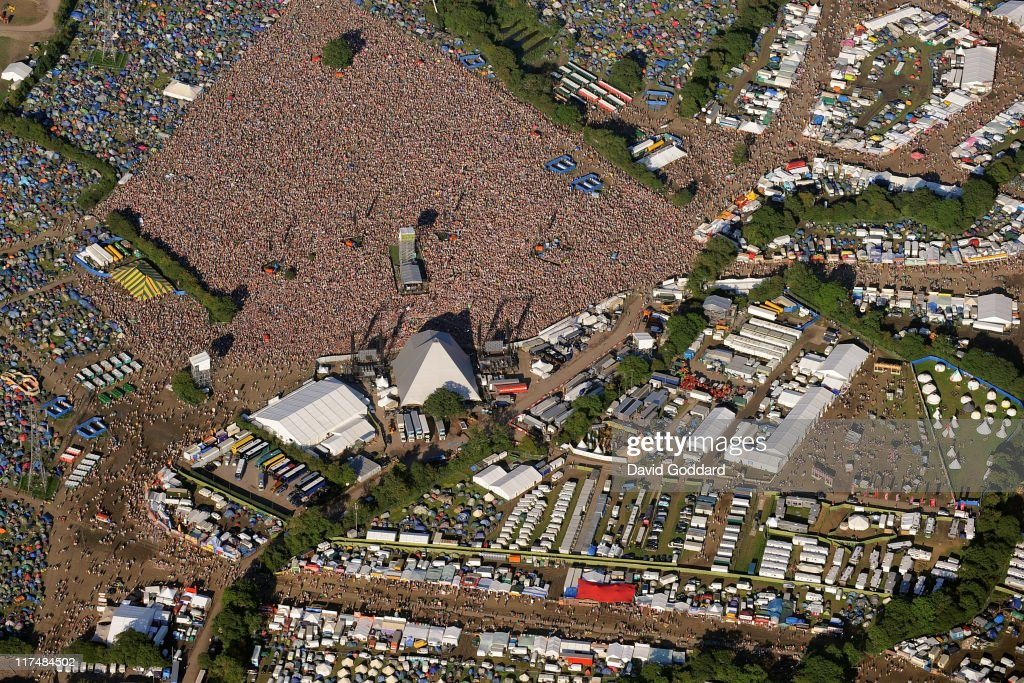 An aerial view of the Pyramid stage and backstage area at the Glastonbury Festival site at Worthy Farm in Pilton on June 26, 2011 in Glastonbury, England. The festival, which started in 1970 when several hundred hippies paid 1 GBP to attend, has grown into Europe's largest music festival attracting more than 175,000 people over five days.
