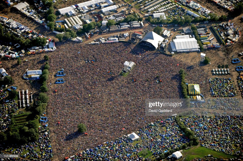 An aerial view of the Pyramid stage at the Glastonbury Festival site at Worthy Farm in Pilton on June 26, 2011 in Glastonbury, England. The festival, which started in 1970 when several hundred hippies paid 1 GBP to attend, has grown into Europe's largest music festival attracting more than 175,000 people over five days.
