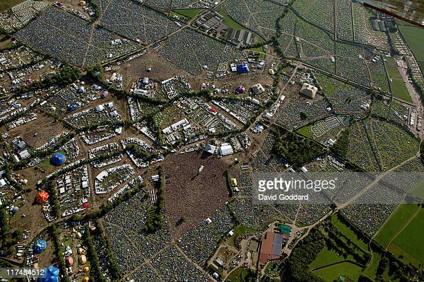 An aerial view of the Pyramid stage at the Glastonbury Festival site at Worthy Farm in Pilton on June 26 2011 in Glastonbury England The festival...