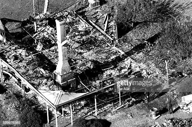 An aerial view of the remains of the Seascape Guesthouse burnt down during the Port Arthur massacre Tasmania 30 April 1996 THE AGE Picture by BRUCE...