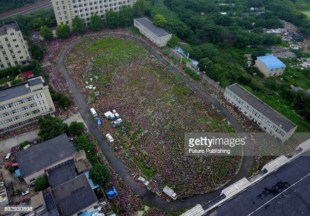 An aerial view of the rental bikes detained by the local urban administration authority of Luyang district on August 16 2017 in Hefei China Tens of...