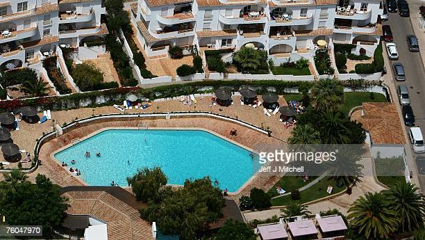 An aerial view of the resort and surounding area where Madeleine McCann went missing August 10 2007 in Praia da Luz Portugal Police are continuing...