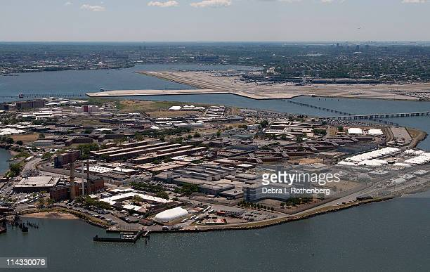 An aerial view of the Rikers Island prison is seen September 24 2010 in the Bronx borough of New York City International Monetary Fund chief...