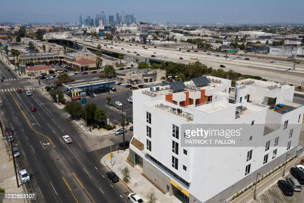 An aerial view of the RISE Apartments, an affordable apartment community for homeless veterans and other people experiencing homelessness stands...