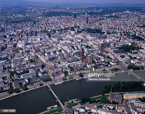 An aerial view of the River Main, Frankfurt-am-Main Cathedral, Romer and Paulskirche.