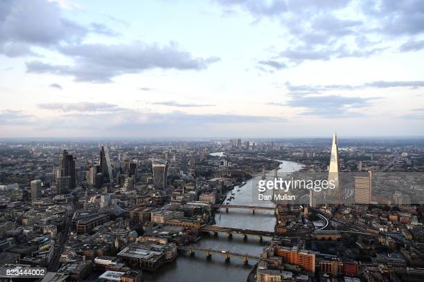 An aerial view of the River Thames flowing through central London on July 12 2017 in London England