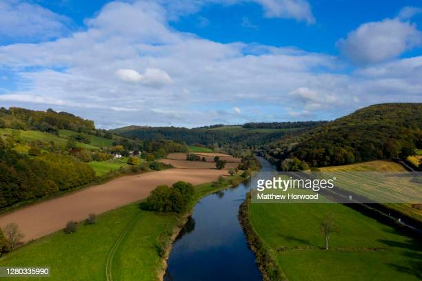 An aerial view of the River Wye which runs along the border with England and Wales on October 15, 2020 in Llandogo, Wales. The Welsh First Minister...