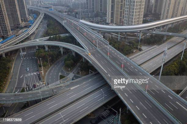 An aerial view of the roads and bridges are seen on February 3 2020 in Wuhan Hubei province China The number of those who have died from the Wuhan...