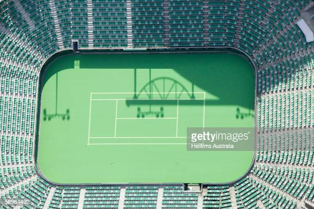 An aerial view of the Rod Laver Arena outside tennis courts at Melbourne Park as seen December 23 2005 in Melbourne Australia Melbourne Park will be...