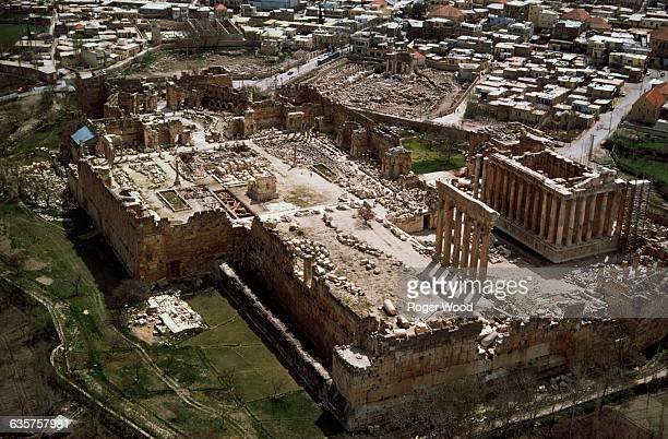 An aerial view of the Roman ruins at Baalbek and the surrounding town Lebanon April 1967