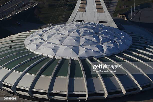 An aerial view of the roof of Olympic Stadium is seen from above on November 18 2012 in Montreal Quebec