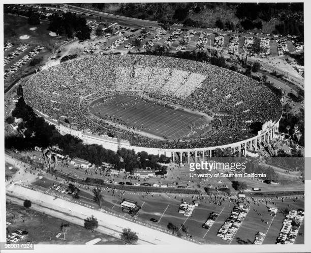 An aerial view of the Rose Bowl, Pasadena, California, early to mid twentieth century.