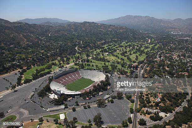 An aerial view of the Rose Bowl the home of the UCLA Bruins and NCAA bowl games with the San Gabriel Mountains in the background on July 13 2010 in...