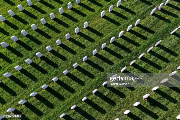 An aerial view of the rows of headstones at Sacramento Valley National Cemetery on May 24 2020 in Dixon California Due to COVID19 the US Department...