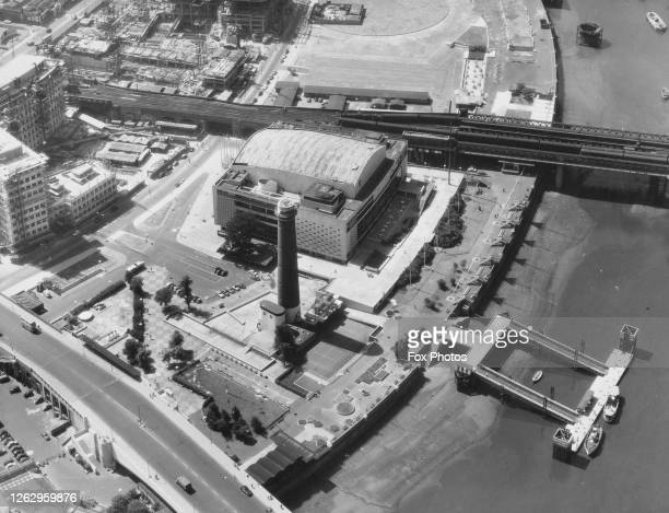 An aerial view of the Royal Festival Hall and Shot Tower in London in the Southbank Centre on the South Bank of the River Thames 8th July 1959