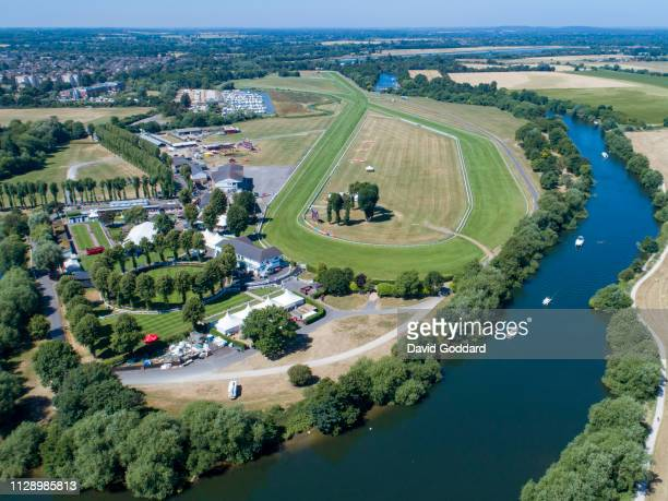 An aerial view of the Royal Windsor Racecourse, located on the southern bank of the River Thames, between Eton Wick and Clewer Village, 1 mile north...