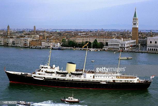 An aerial view of the royal yacht Britannia during Charles and Diana's tour of Italy along the Grand Canal on May 5 Venice Italy